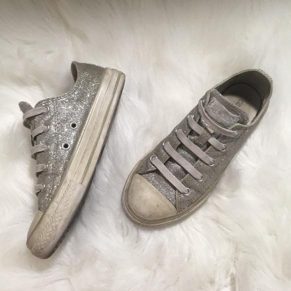 Kid s Silver Glitter Converse (Ankle) 2c7c116ebfef